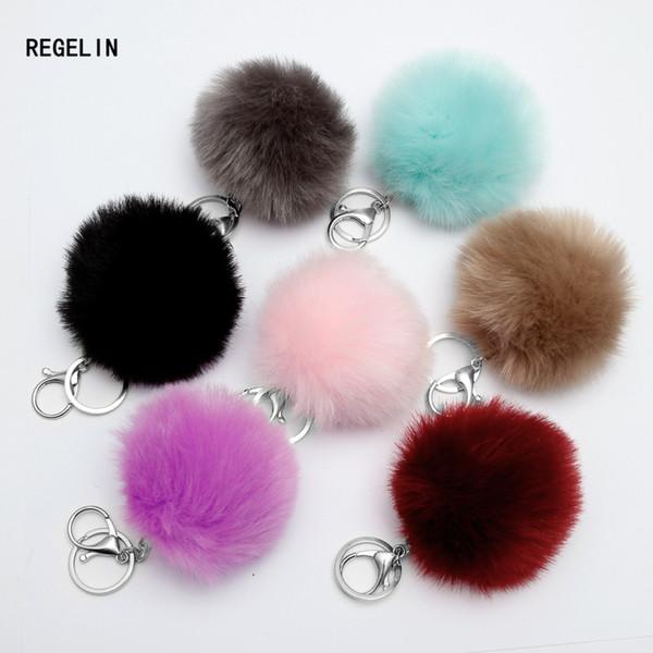 REGELIN 8cm Fake Fur Lovely Fluffy Pompom Brand Bag Keychain Car Keyring Silver Chains Keychain Fashion Women Jewelry Gift