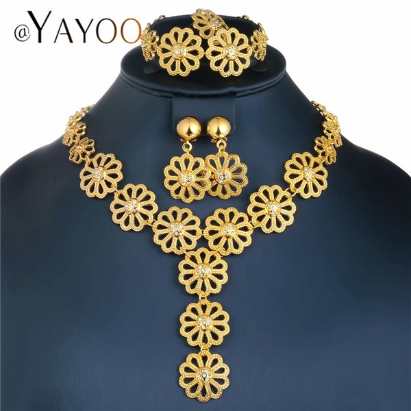 AYAYOO Big Dubai Jewelry Sets For Women Flower Necklace Set Gold Color African Beads Jewelry Set Nigerian Wedding Gift