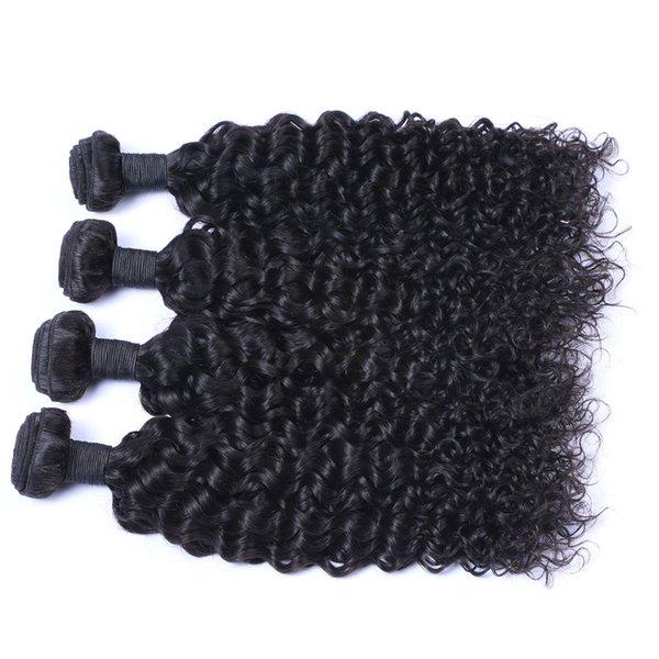 Malaysian Jerry Curl 4 Bundles / lot Menschliches Jungfrau-unverarbeitetes Haar spinnt natürliche schwarze Farbe 100g / Bundle-Doppeleinschlag-Haar-Erweiterungen