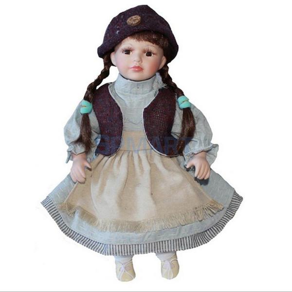16inch élégante poupée en porcelaine victorienne avec support fille personnes chiffres en rose robe chapeau enfants cadeau collections adultes # 4