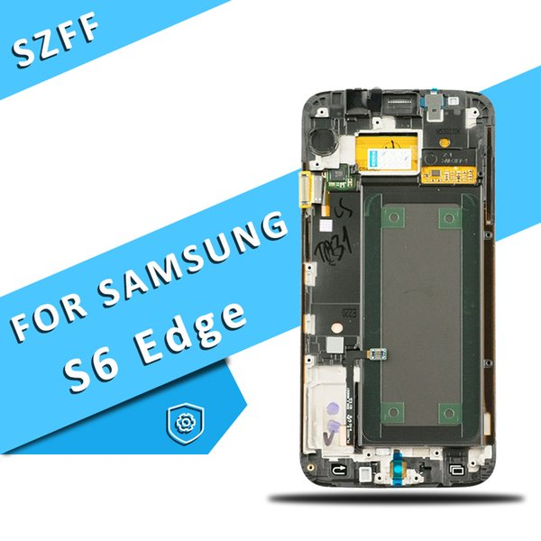 for Samsung Galaxy S6 Edge LCD Display Touch Screen Assembly with Frame Mobile Replacement Parts Free Shipping DHL