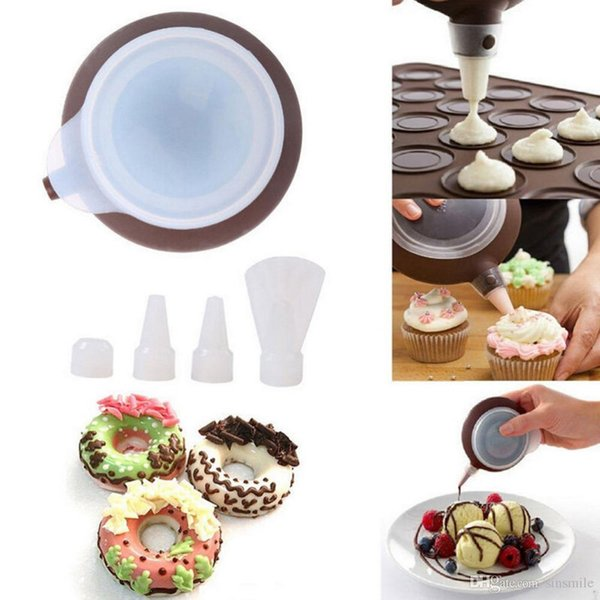 Wholesale- New Silicone Macaron Fondant Cake Decorating Tools Kitchen Muffin Tray Baking Macaroon Mold Pastry Nozzles Kit Set