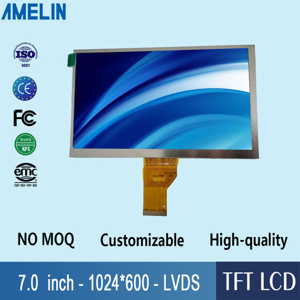 7 inch TFT 100% new lcd module display 1024*600 resolution with TN viewing angle screen and LVDS interface panel