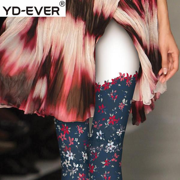 Kadın tayt Romantik Çiçek Dövme Çorap Dikiş Sahte Uyluk Baskı Beyaz Bankası Harajuku Rüzgar Romper Pamuk Gluttony
