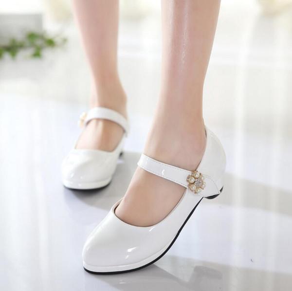 Kinder Elegante Prinzessin Schuhe Kinder Mädchen Hochzeit PU Lederschuhe High Heels Kleid Party Perlen Schuhe Für Mädchen Rosa Weiß