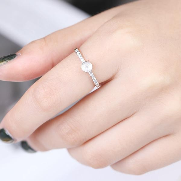 925 Sterling Silver Engagement Wedding Ring for Women Crystal 6-8mm Pearl or Round Bead Semi Mount Ring DIY Stone Setting