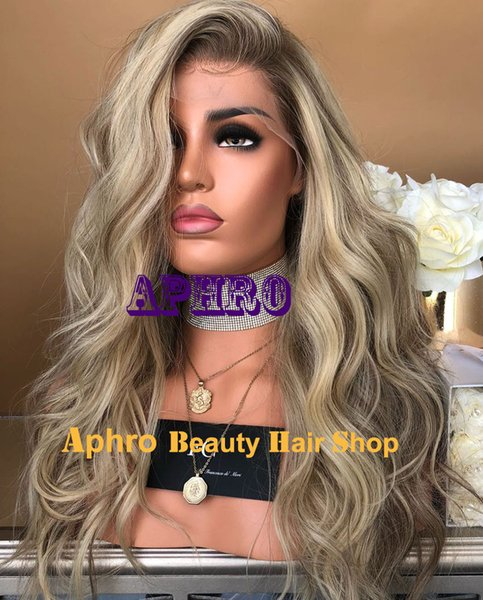 Luxury Dark Roots Ombre Blonde Silk Top Full Lace Wigs European Human hair 180% Density 20-30 Inch Silk Base Glueless Wigs With Lowlights