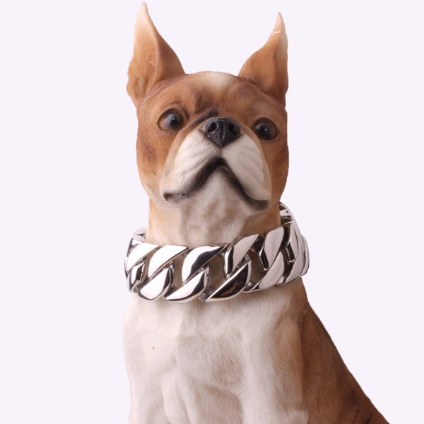 30mm 18-26 Inch Silver Tone Double Curb Cuban Stainless Steel Pet Link Chain Dog Chain Collar Pet Necklaces