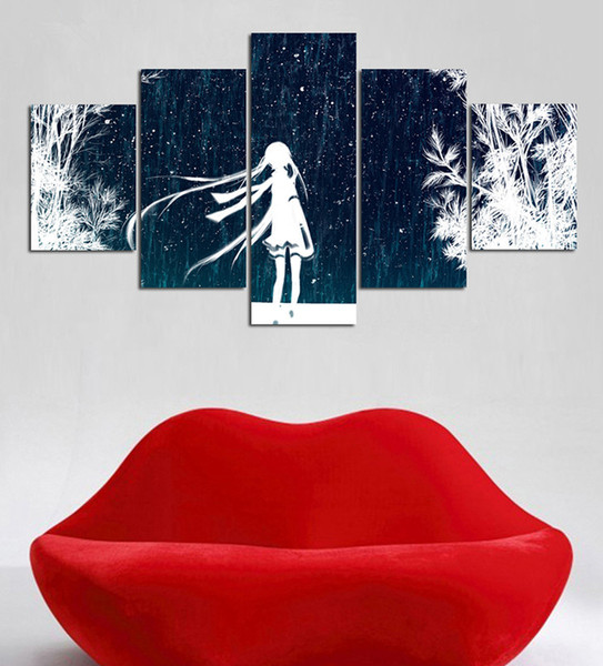 Abstract Pretty Girl Back Snowing Day Pintura en Lienzo Combinación de Murales Modernos Arte de la Pared Dormitorio Sala de estar Decoración para el hogar