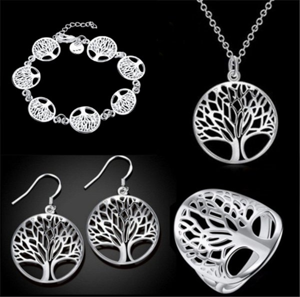 The Tree of Life Jewelry Set 3 Piece Suit Bracelet, Earrings, Necklace and Ring Good Gift for Girlfriend Mom EMS FREE SHIPPING
