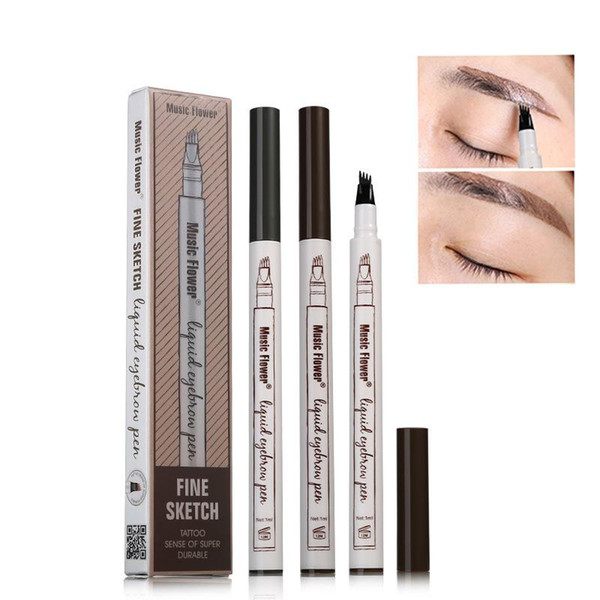 best selling Music Flower Liquid Eyebrow Pen Music Flower Eyebrow Enhancer 3 Colors Four Head Eyebrow Enhancer Waterproof Free DHL