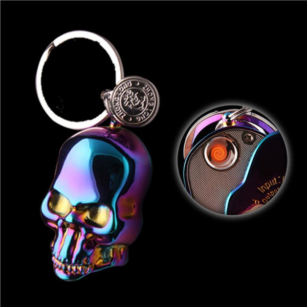 Creative metal skull charging lighter USB electronic cigarette lighter with key chain in the dragon ghost head