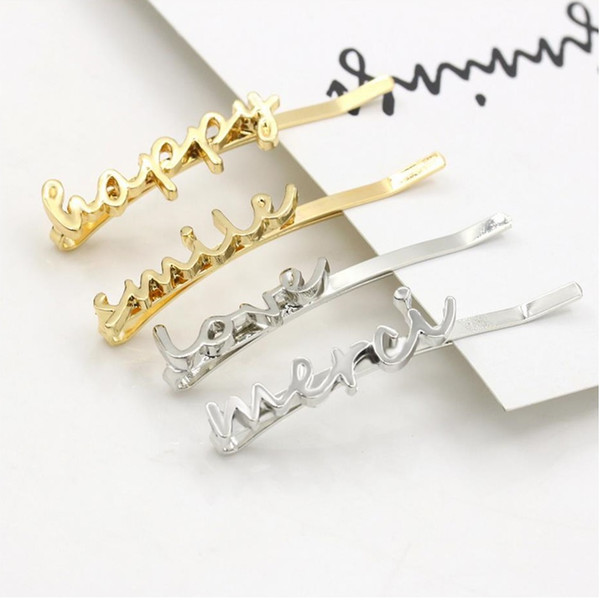 top popular Letter Happy Smile Love Merci 1 shape with Gold and silver plated for Women Fashion hair clip gift 2019