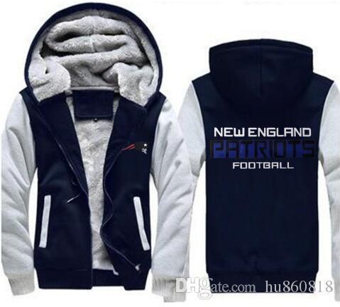 Großhandel New England Dropshipping Sweatshirt Warmes Fleece Verdicken Patriot Kapuzenjacke Zipper Coat Hoodies Sweatshirts Up To Date Jacke Von