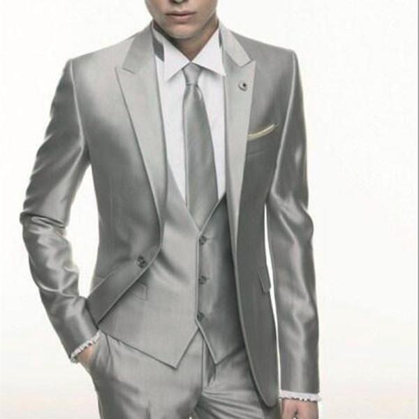Silver Grey Satin wedding Men Suit 2017 Formal Skinny Stylish Male Blazer Party Custom Tuxedo 3 Piece Vestidos mens suits