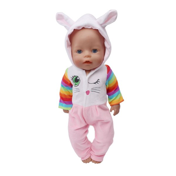Embroidered kitten jumpsuit baby clothes fit 43-centimeter baby Annabell, children's best birthday gift (clothes only) 71