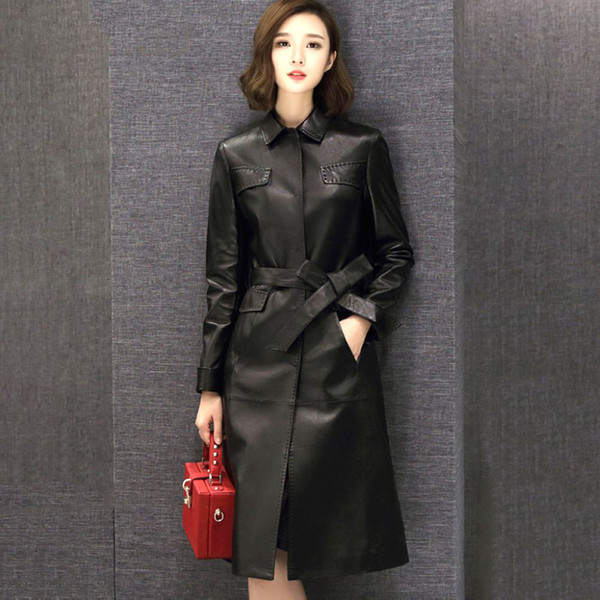 top popular Real Sheepskin Women Long Leather Coat Jacket Exquisite Top Quality with Waist Belt F490 Black Elegant Leather Trench Coat 2020