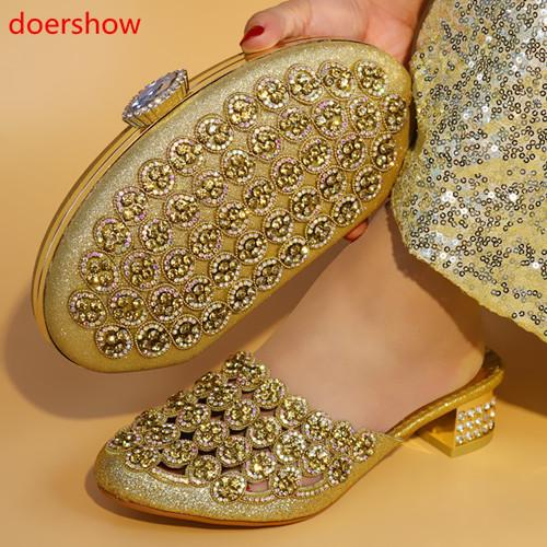 Gold Africa Summer Style Woman Shoes And Bag Set Fashion Rhinestone High Heel Shoes And Bag Set For Evening Party !A14-205