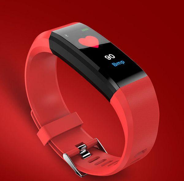 Bracelet couleur écran tactile étanche sport compte pas fréquence cardiaque tension artérielle sommeil surveillance de la santé