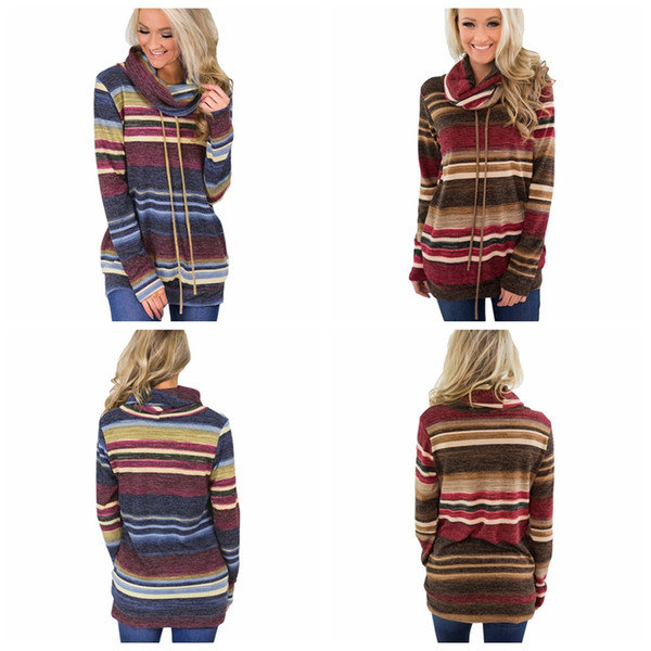 top popular Wommen Striped Heap Collar Hooded Sweatshirt with Pockets Casual Fall Long Sleeves Turtleneck shirts Drawstring striped Hoodies GGA1063 2021