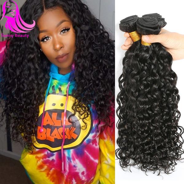 Indisches Jungfrau-Haar-Wasser-Welle 4 Bündel sonniges Schönheits-Haar nasse wellenförmige menschliche Haar-Webart-Bündel natürliche Ozean-Wellen-indisches lockiges