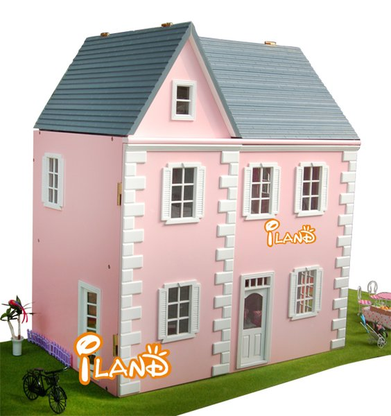 1:12 Pink Villa DIY Big Doll house 3D Miniature Wooden assembled+PVC Window Building model Children Play house toy Gift for BJD
