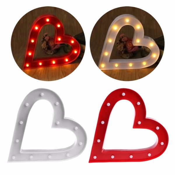 3D Marquee Liebevolle Herz Tischlampe 12 LED Batteriebetriebene Nachtlicht Room Decor Innenbeleuchtung