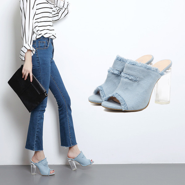 2018 brand new European and American ladies' cool shoes. Summer wear extra high heels and denim women's shoes.