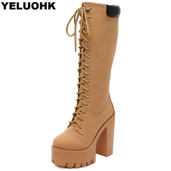 2018 Fashion Knee High Boots Women Shoes Fashion High Heels Winter Shoes Casual Women Boots Comfortable Ladies