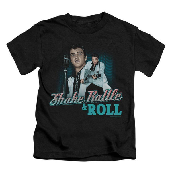 Elvis Presley Boys' Shake Rattle & Roll Childrens T-shirt Black Rockabilia