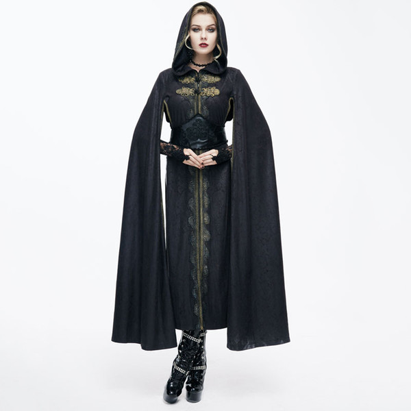 2017 Devil Fashion Noble Wind Retro Steampunk Cape Coats Gothic Black Casual Hooded Long Sleeves Embroidery Cloak Trench