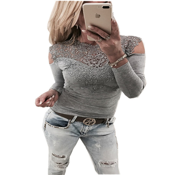 good quality 2019 Women's T-shirt Spring New Sexy Lace Stitching Strapless T-shirt Jacket Fashion Strapless Lace Long-sleeved Black
