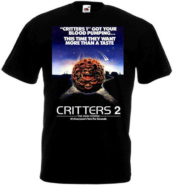 CRITTERS 2 Movie Poster T Shirt All Sizes Black High Quality Custom Printed Tops Hipster Tees T-Shirt Round Neck Men Top Tee