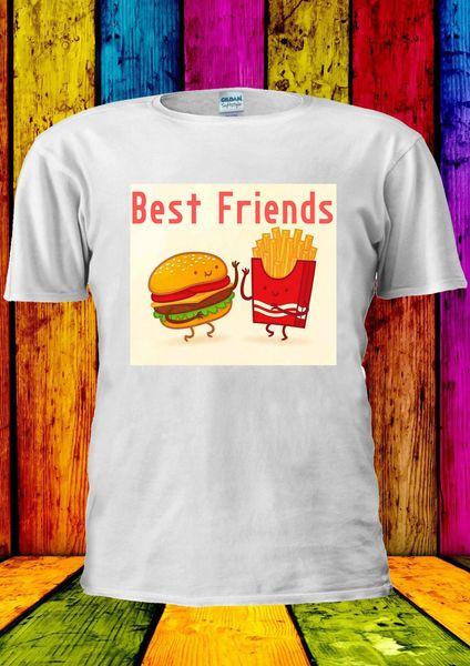 Bester Freund-Burger-Chip-Fritten-T-Shirt Weste-Trägershirt-Mann-Frauen Unisex 2372 Karikaturt-shirt Männer Unisexneue Art- und Weiset-shirt lose
