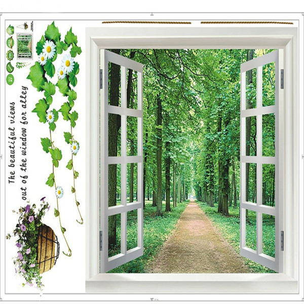 open Window 3D Green View Flowers Plant Wall Stickers Art Mural Decal Path scenery Wallpaper for Bedroom Living Room Home Decoration