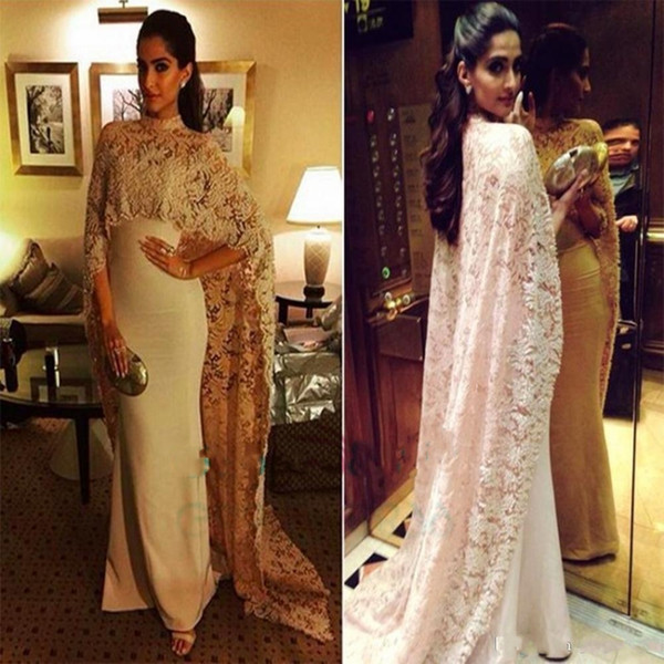 Sonam Kapoor in Paolo Sebastian High Neck Dubai Kaftan nude Lace Cape Muslim Evening Dress 2017 Islamic Arabic long sleeve prom Formal