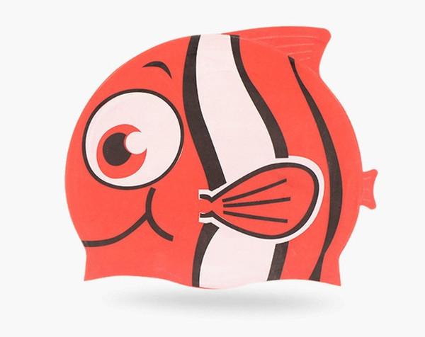 Kids Fun Silicone Swim Cap for Boys and Girls - Cartoon Design Goldfish & Minnows (For 3-12 Years)