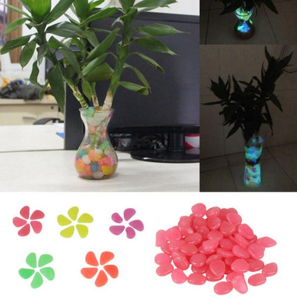 11 Colors Glow In The Dark Stones Pebbles Rock Aquarium Fish Tank Garden Walk Decor Vase Decorations EEA311