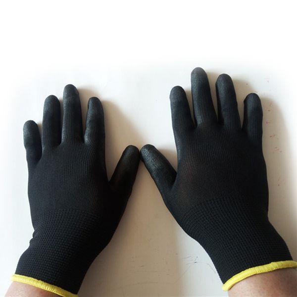 Nylon safety work gloves pu coated black builders gardeners plumbers protective