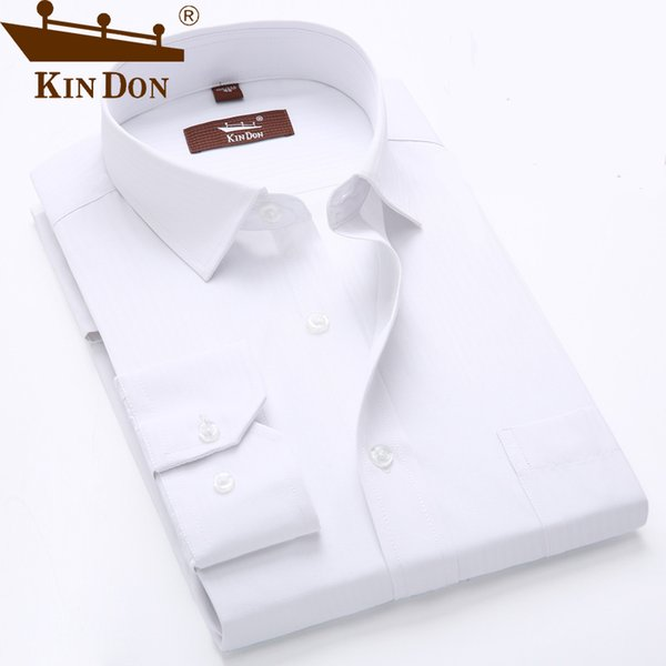 kin don 2017 spring and autumn pure color shirt men simple design office shirt long sleeve slim fit homme, White;black