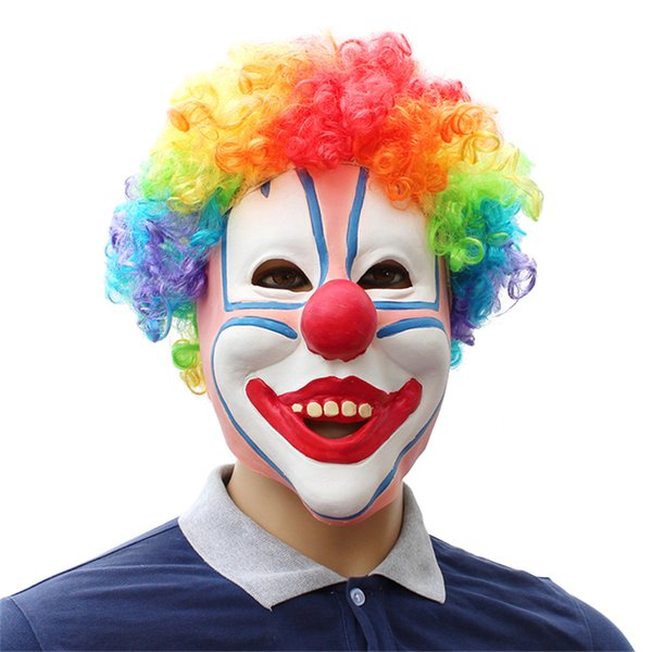 Colored clown Latex Unisex Movie Cosplay Anime costume Prop Adult Animal Party Mask for Halloween free shipping