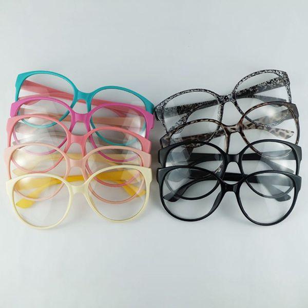 Marco de gafas de moda Arale Marco óptico redondo con lentes transparentes Gafas de sol de PC Decoración del marco Colores de mezcla