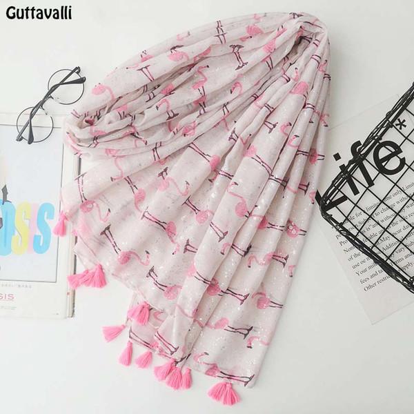 Guttavalli Women Small Flamingos Print Long Tassels Shawl Summer Female Cotton Animals Scarf Bohemia Pink Skinny Chevron Scarves