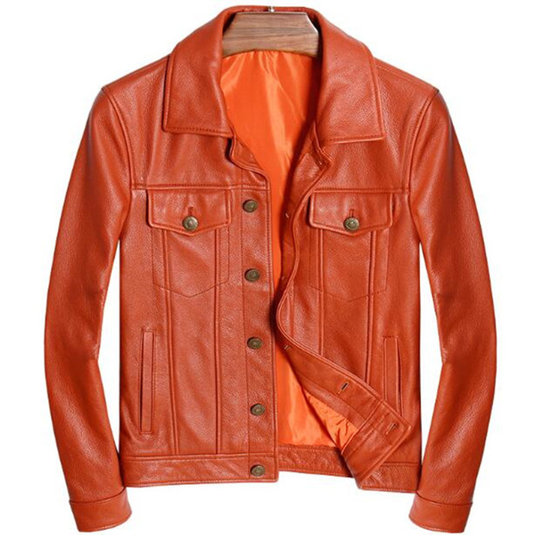 Real Genuine Leather Jacket Men Vintage Motorcycle Fashion Casual Slim Fit Zipper Classic Biker Male Coat Yellow Plus Size 5XL