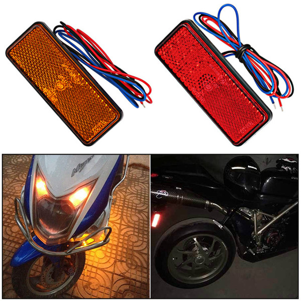 12V Red White Amber LED Reflector Rear Tail Brake Stop Warning Side Marker Light For Jeep Truck Trailer Motorcycle Scooter