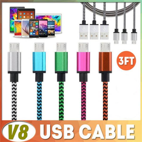 Android Câble USB Adaptateur 1M 3FT Coloré Aluminium Câble Tressé Fibre Tissé Chargeur Cordon Pour Samsung Google ZTE LG