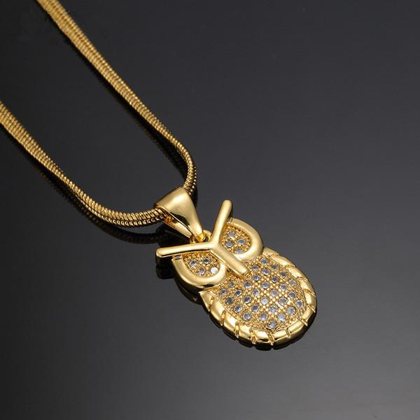 Wholesale Fashion Men Charm Owl Pendant Necklaces Full Cz Stone