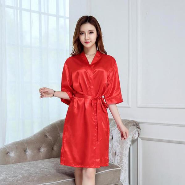 As mulheres de verão robe rayon dama de honra do casamento da dama de honra quimono roupão senhora sexy camisola cor sólida sleepwear casa roupão