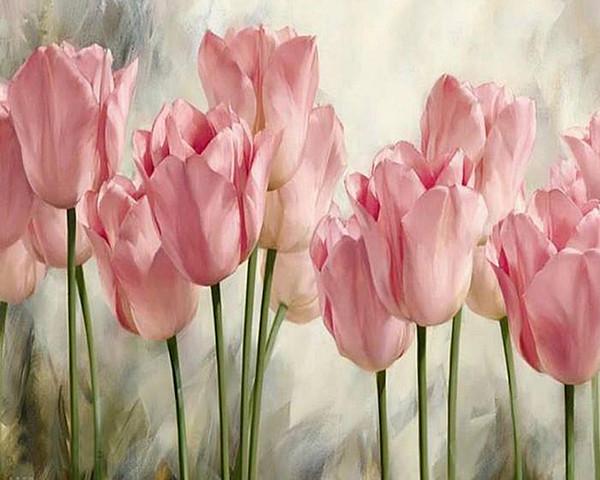 Pintura Diamante Diy 3D Pink Tulip Flowers Kits de punto de Cruz Pintura de Resina Taladro Cuadrado Completo Costura Mosaico Decoración Del Hogar