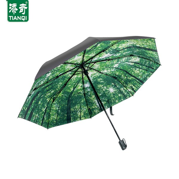TIANQI New Type Art Oil Painting Balck Glue Outside Umbrella Women Rain Waterproof Umbrellas Stroll Forest Scene